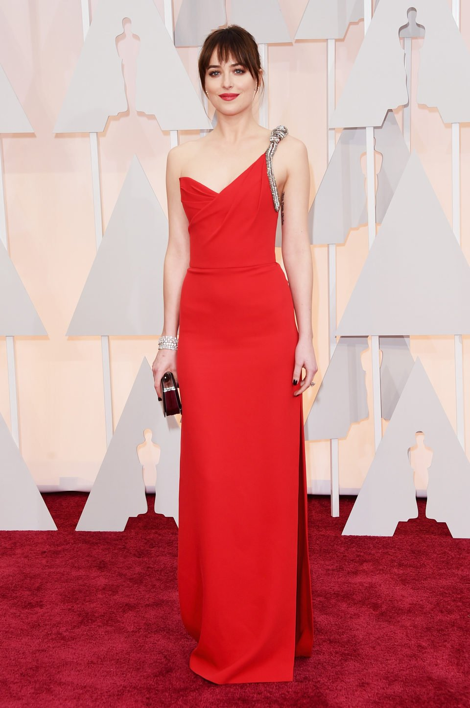 Dakota Johnson at the Oscars Awards 2015 red carpet
