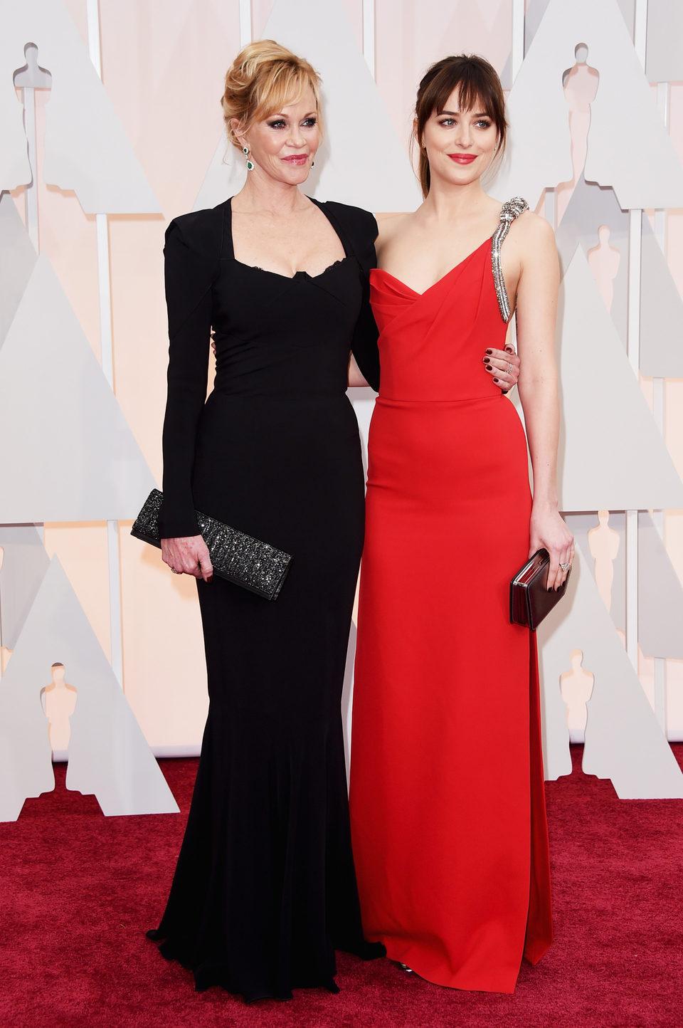 Dakota Johnson and Melanie Griffth at the Oscar 2015 red carpet