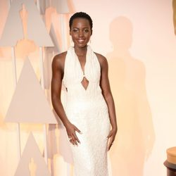 Lupita Nyong'o at the Oscars Awards 2015 red carpet