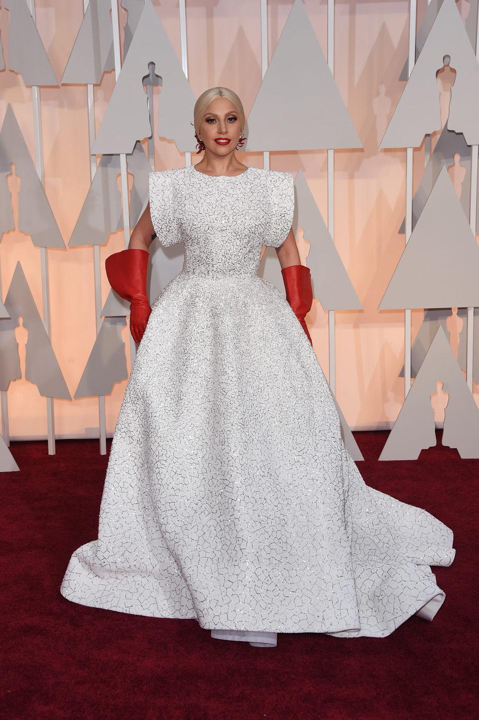 Lady Gaga at the Oscars Awards 2015 red carpet