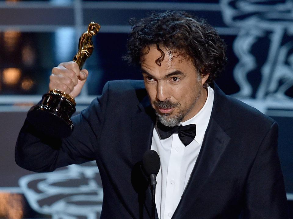 Alejandro González Iñárritu wins the Best Directo Award at the Oscars 2015