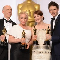 The four winning actors at the Oscars 2015 pose together