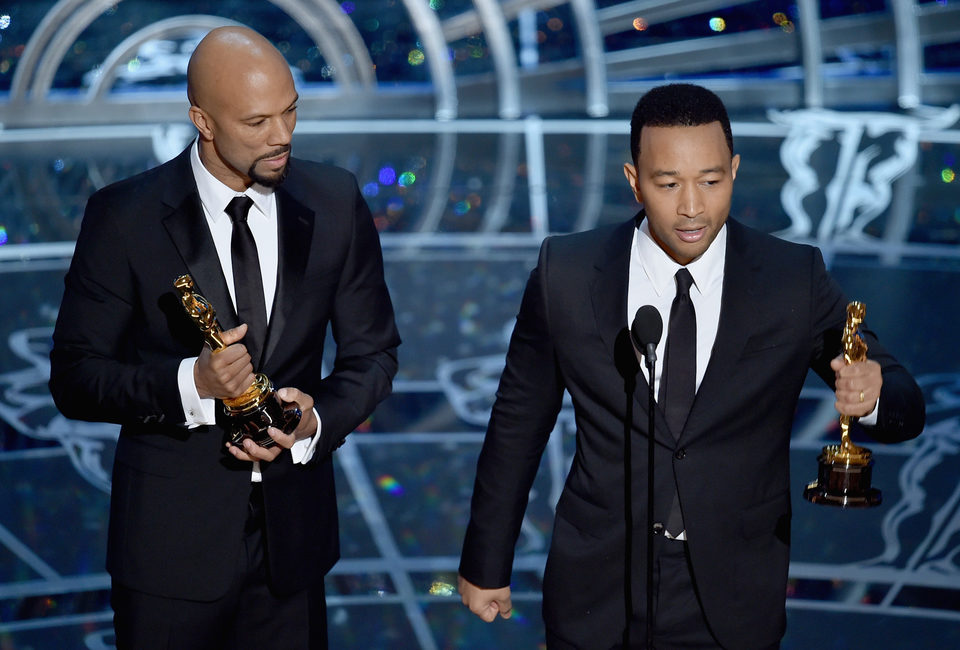 John Legend and Common receive the Best Song Oscar Award
