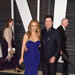 John Travolta and Kelly Preston in the Oscar 2015 red carpet