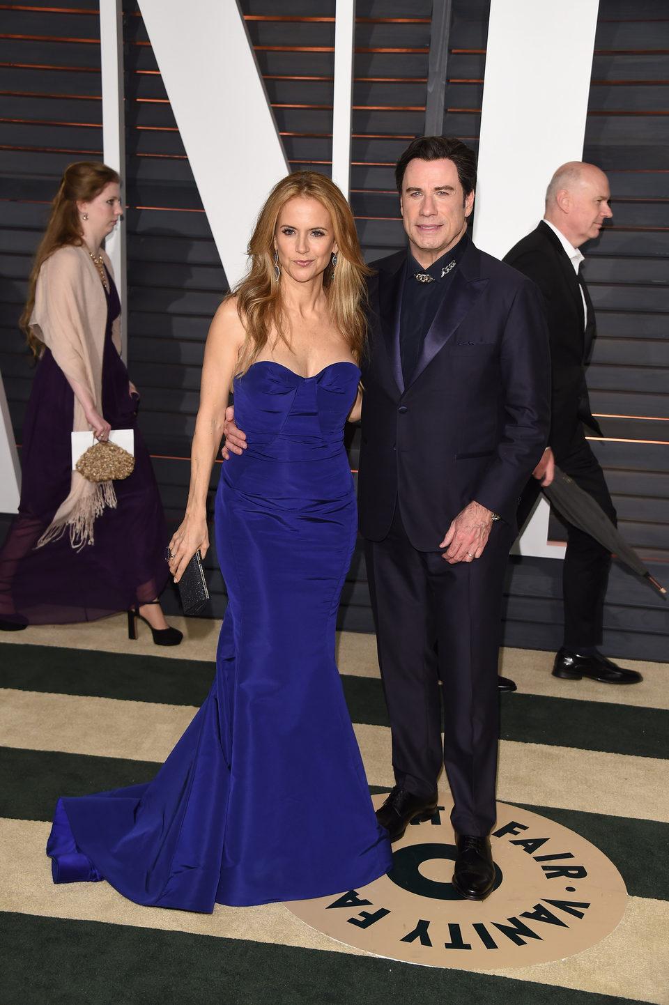 John Travolta and Kelly Preston in the Oscar 2015 red carpet