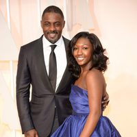Idris Elba and his daughter in the Oscar 2015 red carpet