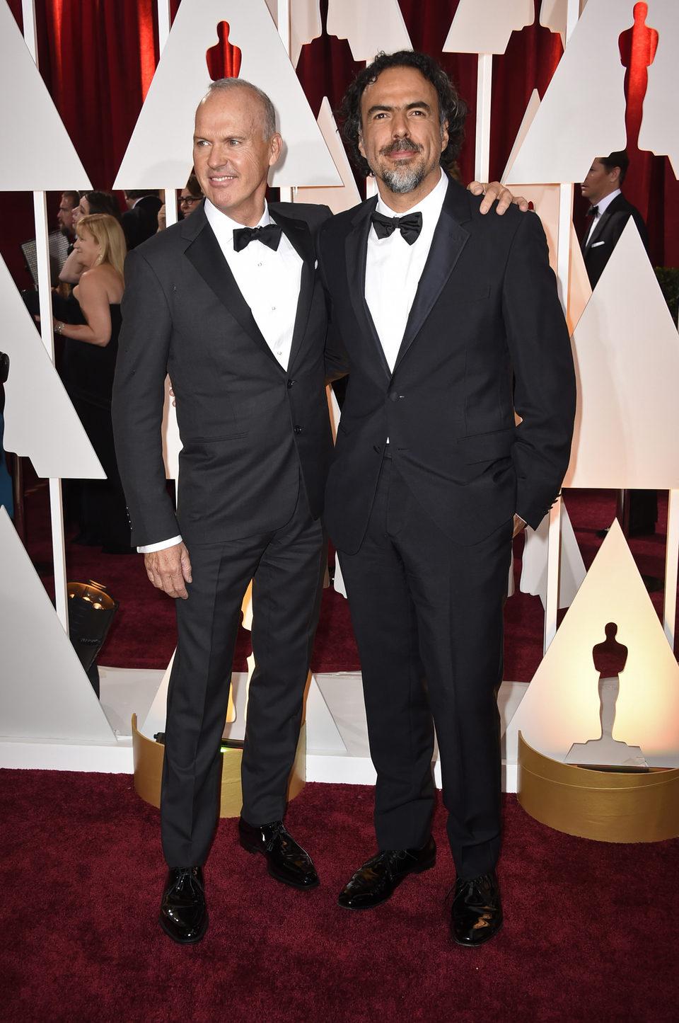 Michael Keaton and Alejandro González Iñárritu in the Oscar 2015 red carpet