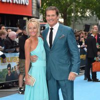 Hayley Roberts and David Hasselhoff at the 'Entourage' premiere in London