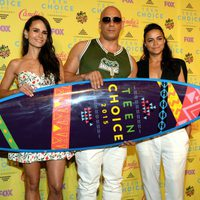 Actors Jordana Brewster, Vin Diesel, and Michelle Rodriguez, winner of the Choice Movie: Action Award for Furious 7 pose in the press room during the Teen