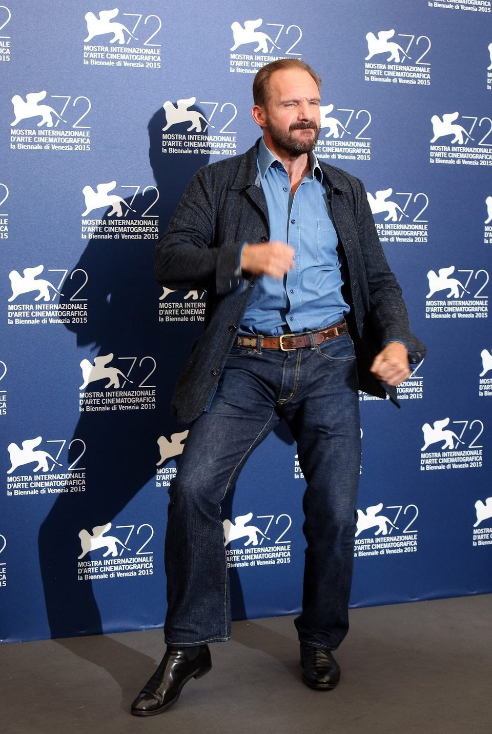 Ralph Fiennes dances at the 72nd Venice Film Festival
