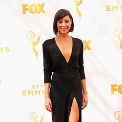 Aubrey Plaza at the red carpet at the Emmys 2015