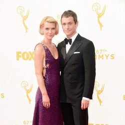 Claire Danes, Hugh Dancy at the 2015 Emmy awards red carpet