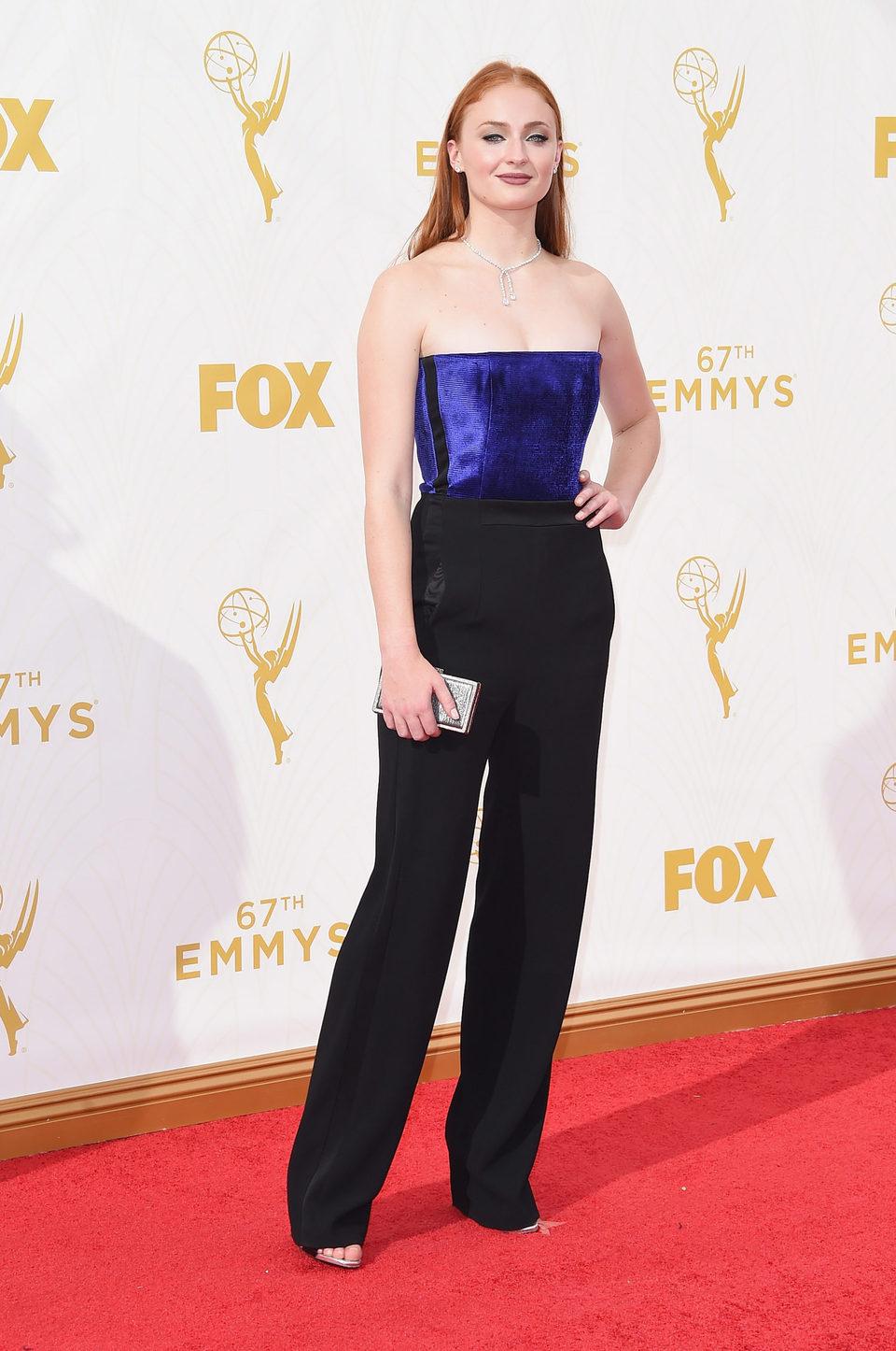 Sophie Turner at the 2015 Emmy awards red carpet