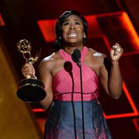 Uzo Aduba receiving the 2015 Emmy Award