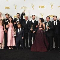 The 'Game of Thrones' team posing with their 2015 Emmy Award