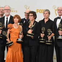 The 'Olive Kitteridge' team posing with their 2015 Emmy Awards