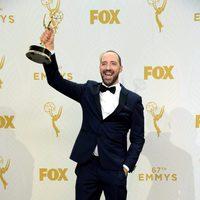 Tony Hale posing with his 2015 Emmy Award