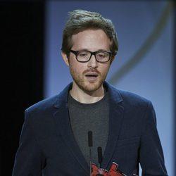 Director Rudi Rosenberg receives the Kutxabank-New Directors Award for his film 'Le Nouveau' during the closing ceremony of the 63rd San Sebastian Internat