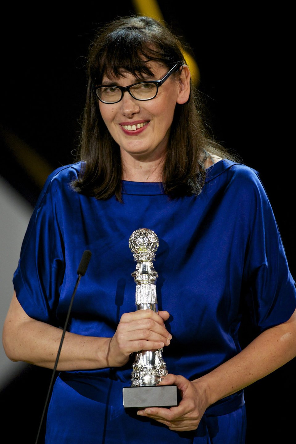 Lucile Hadzihalilovic receives the Special Jury Prize for the film 'Evolution' during the closing ceremony of 63rd San Sebastian Film Festival