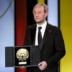 Runar Runarsson receives the Golden Shell for Best Film for 'Sparrows' during the closing ceremony of 63rd San Sebastian Film Festival