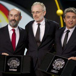 Javier Camara, Umberto Pasolini (member of the jury) and Ricardo darin are seen during the closing ceremony of 63rd San Sebastian Film Festival