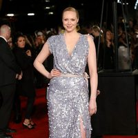 Gwendoline Christie posing in 'The Hunger Games: Mockignjay - Part 2' London premiere red carpet