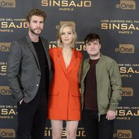 Liam Hemsworth, Jennifer Lawrence and Josh Hutcherson present 'The Hunger Games: Mockingjay - Part 2' in Madrid