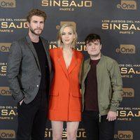 Liam Hemsworth, Jennifer Lawrence and Josh Hutcherson present 'The Hunger Games: Mockingjay - Part 2' in Madrid