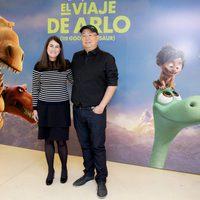 Peter Sohn and Denise Ream attends 'The Good Dinosaur' presentation in Madrid