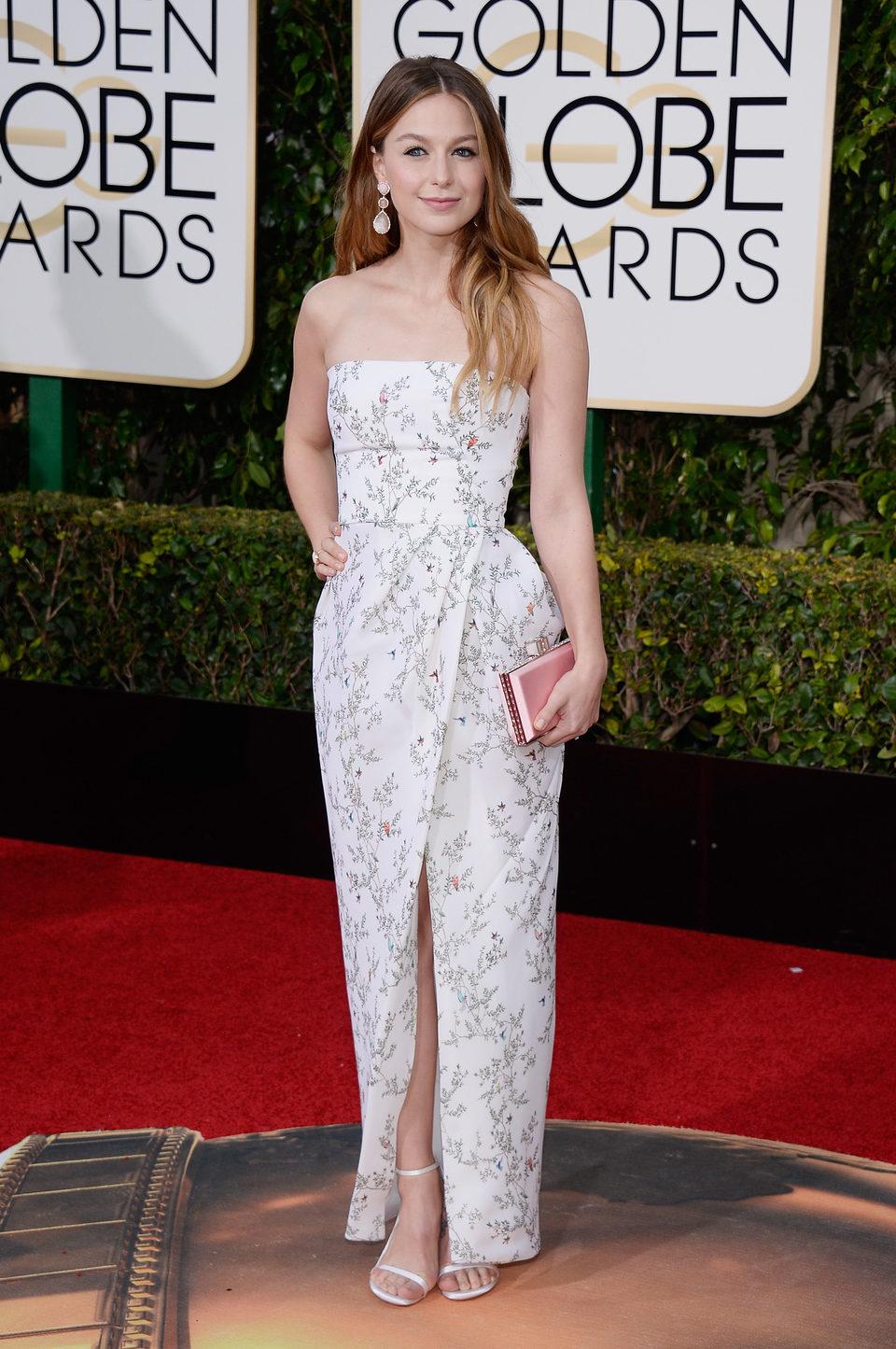 Melissa Benoist in the 2016 Golden Globes red carpet