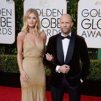 Jason Statham and Rosie Huntington-Whiteley at the 2016 Golden Globes red carpet