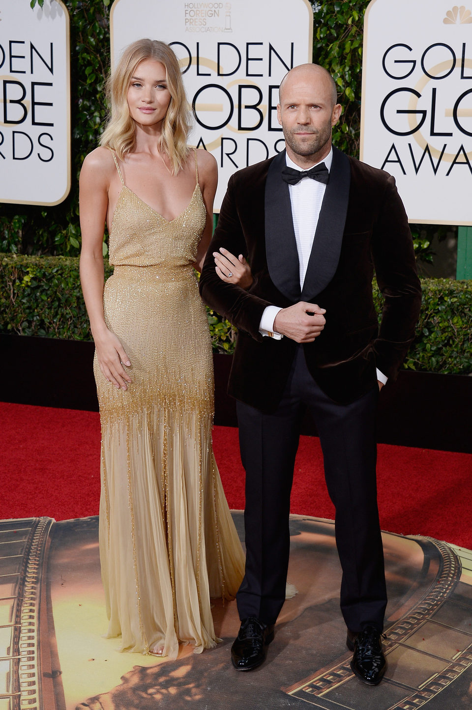 Jason Statham and Rosie Huntington-Whiteley at the 2016 Golden Globes red carpet