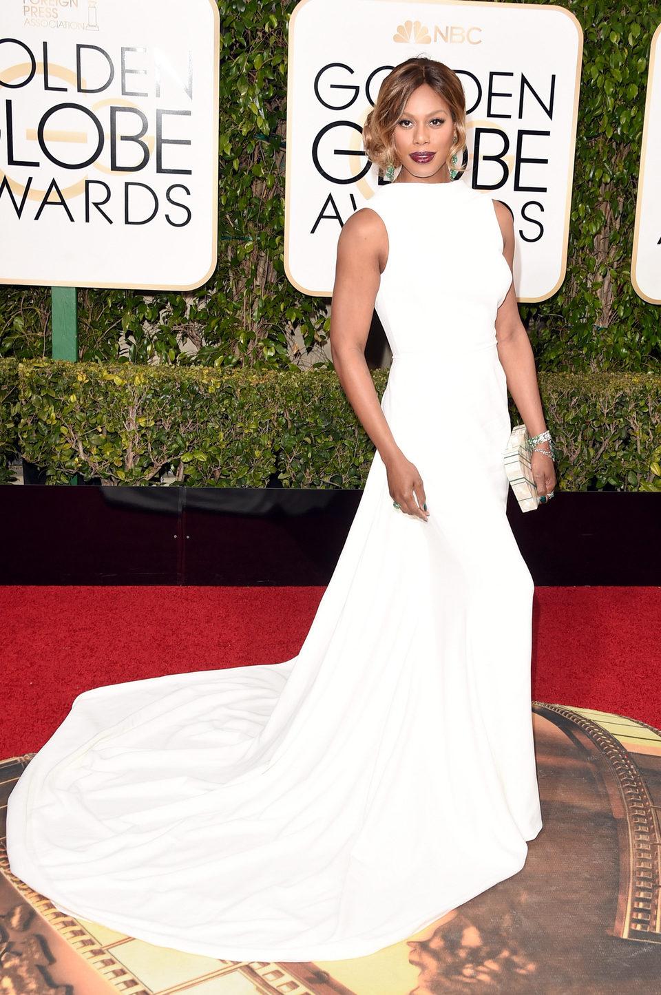 Laverne Cox at the 2016 Golden Globes red carpet