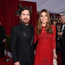 Christian Bale and Sibi Blazic in red carpet of SAG Awards 2016.
