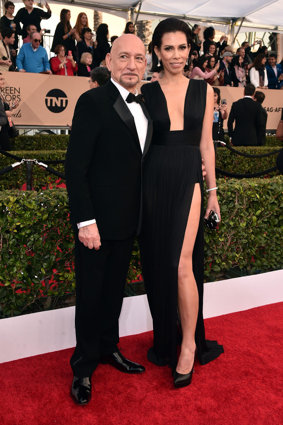 Ben Kingsley and Daniela Lavender in red carpet of SAG Awards 2106