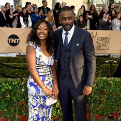 Idris Elba and Isan Elba at the SAG Awards 2016 red carpet