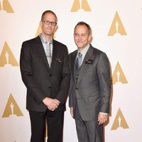Pete Docter and Jonas Rivera at the Oscar 2016 nominees luncheon