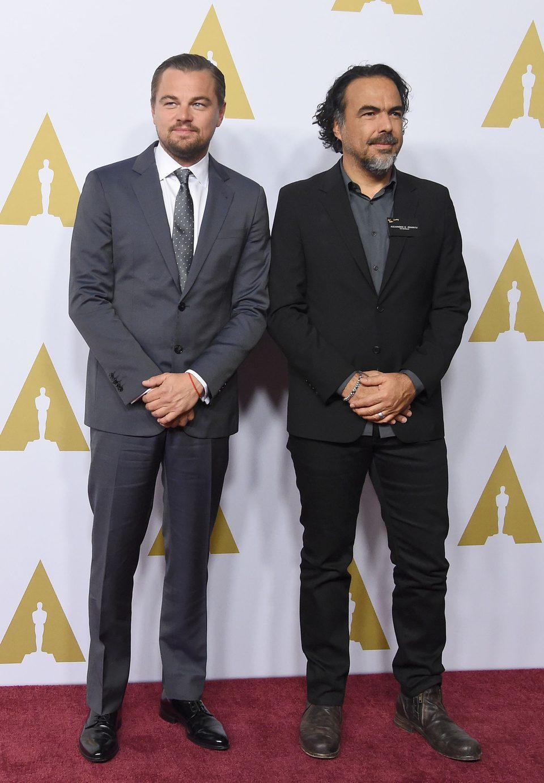 Leonardo DiCaprio and Alejandro González Iñárritu at the Oscar 2016 nominees luncheon