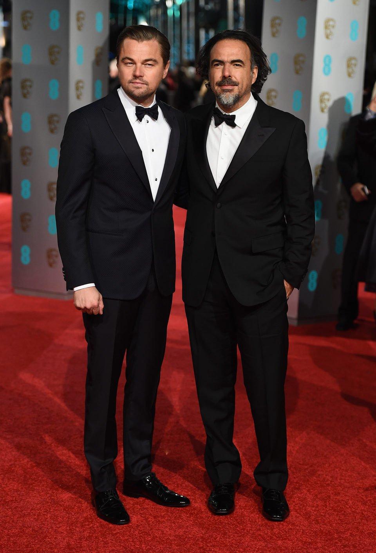 Leonardo DiCaprio and Alejandro G. Iñárritu at the 2016 BAFTA Awards' red carpet