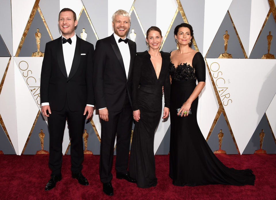 Tobias Lindholm, Pilou Asbaek, Tuva Novotny and Caroline Blanco at the Oscars 2016 red carpet