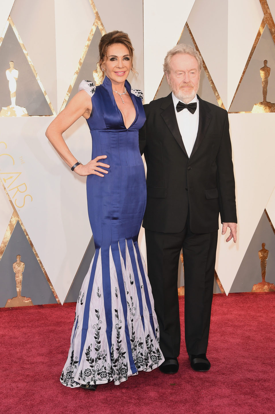 Ridley Scott and Giannina Facio at the Oscars 2016 red carpet