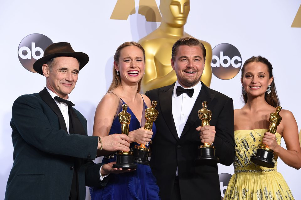 Mark Rylance, Brie Larson, Leonardo DiCaprio and Alicia Vikander Oscars 2016