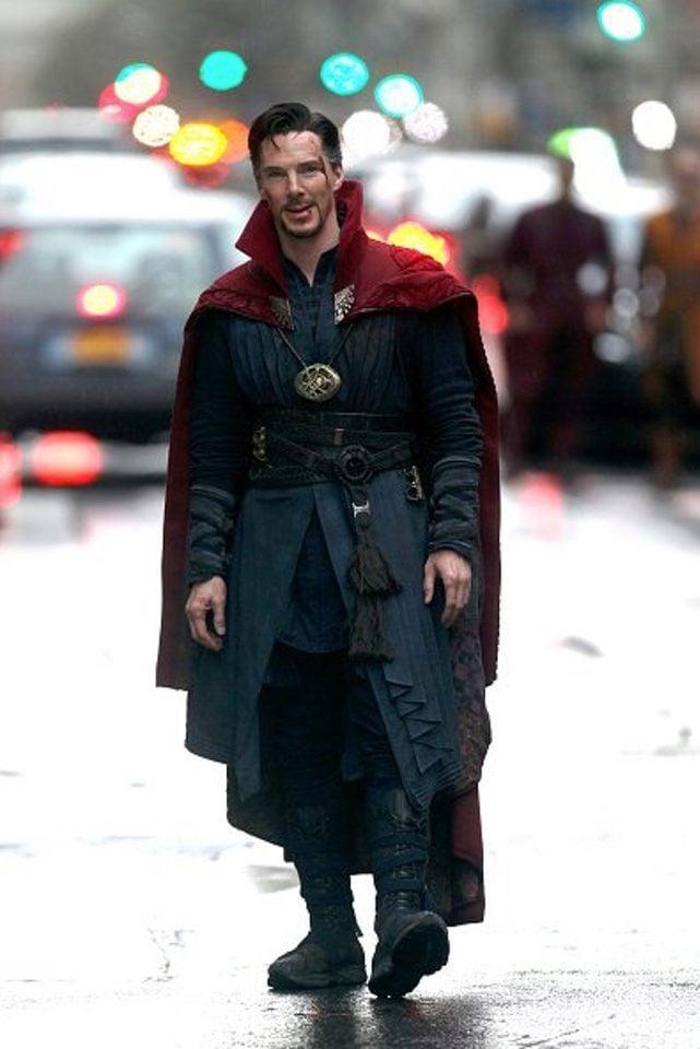 Benedict Cumberbatch smiling in 'Doctor Strange' shooting