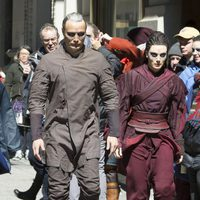 Mads Mikkelsen with one of his castmates at the 'Doctor Strange' New York set