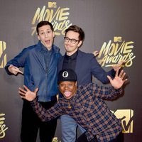 Andy Samberg, Jason Mitchell and Jorma Taccone at the 2016 MTV Movie Awards' red carpet
