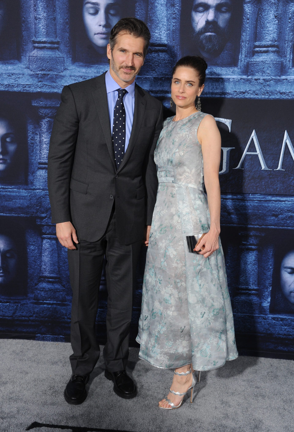 Amanda Peet and David Benioff at the premiere of 'Game of Thrones' Season Six