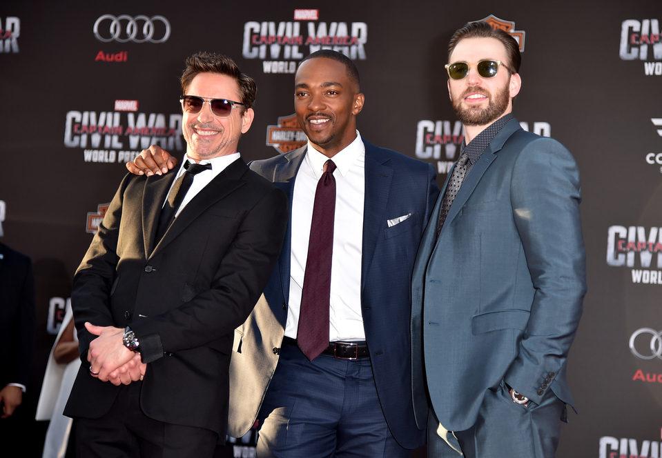 Chris Evans, Robert Downey Jr. and Anthony Mackie at 'Captain America: Civil War' World Premiere
