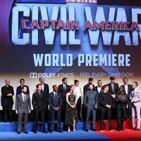 Part of the main cast of 'Captain America: Civil War' poses together in its World premiere