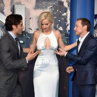 Oscar Isaac, Jennifer Lawrence and James McAvoy at the 'X-Men: Apocalypse' London premiere