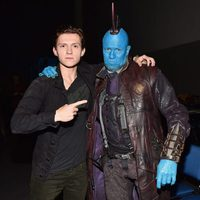 Tom Holland with a customizer Michael Rooker